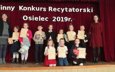 Gminny Konkurs Recytatorski Szkół Podstawowych i Klas Gimnazjalnych w Osielcu